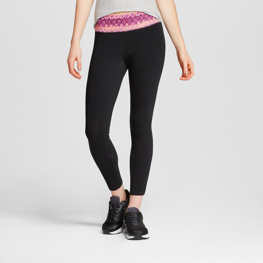 Women's Yoga Capri Flat Waistband Pairs Pink Print S - Mossimo Supply Co. (Juniors'), Size: Small