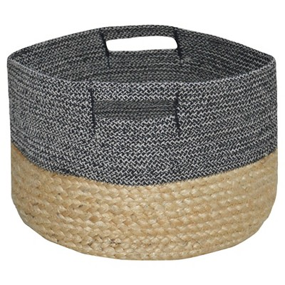 Decorative Basket Threshold Cotton Multi-colored Round
