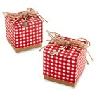 Red Gingham Favor Box with Spatula Charm - Red (Set of 24)