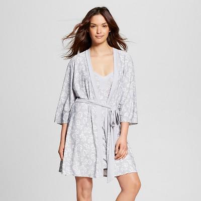 Laura Ashley - Women's Robe/Chemise Pajama Set Silver Gray L