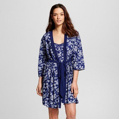 Laura Ashley - Women's Robe/Chemise Set Floral Navy L