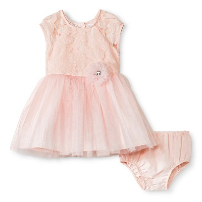 Baby Girls' Lace Bodice Ballerina Dress Pink 12M - Cherokee®