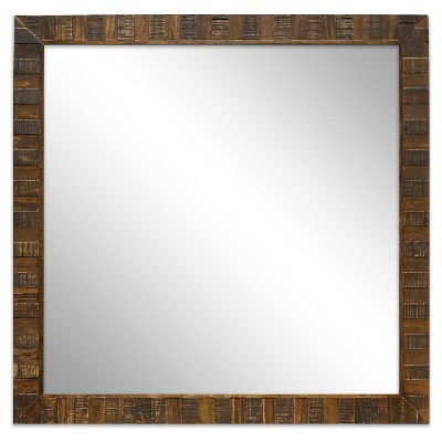 "Square Wood Mirror Antique Coffee Finish 28"" -Threshold™"