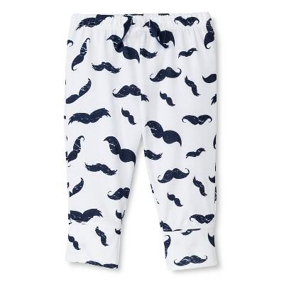Baby Boys' Mustache Pants - White  0-3 M - Circo™