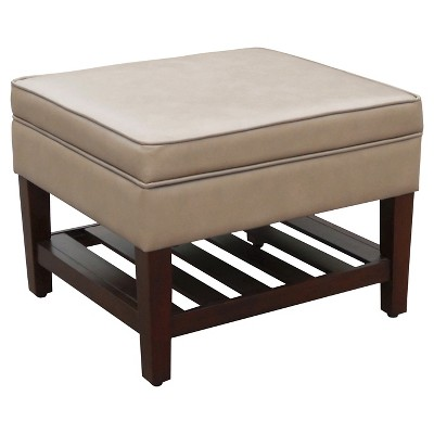 Newtown Storage Ottoman with Wood Slats - Gray - Threshold™