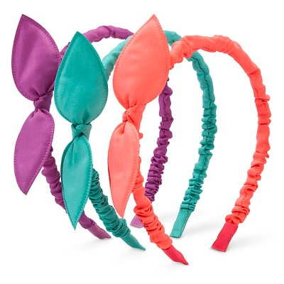 Girls' 3-Pack Pointy Bow Wrinkle Skinny Headband Multicolored One Size - Cherokee®