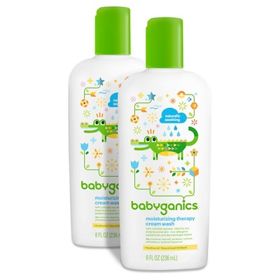 Babyganics Moisturizing Therapy Cream Wash, Fragrance Free - 8oz (2pk)
