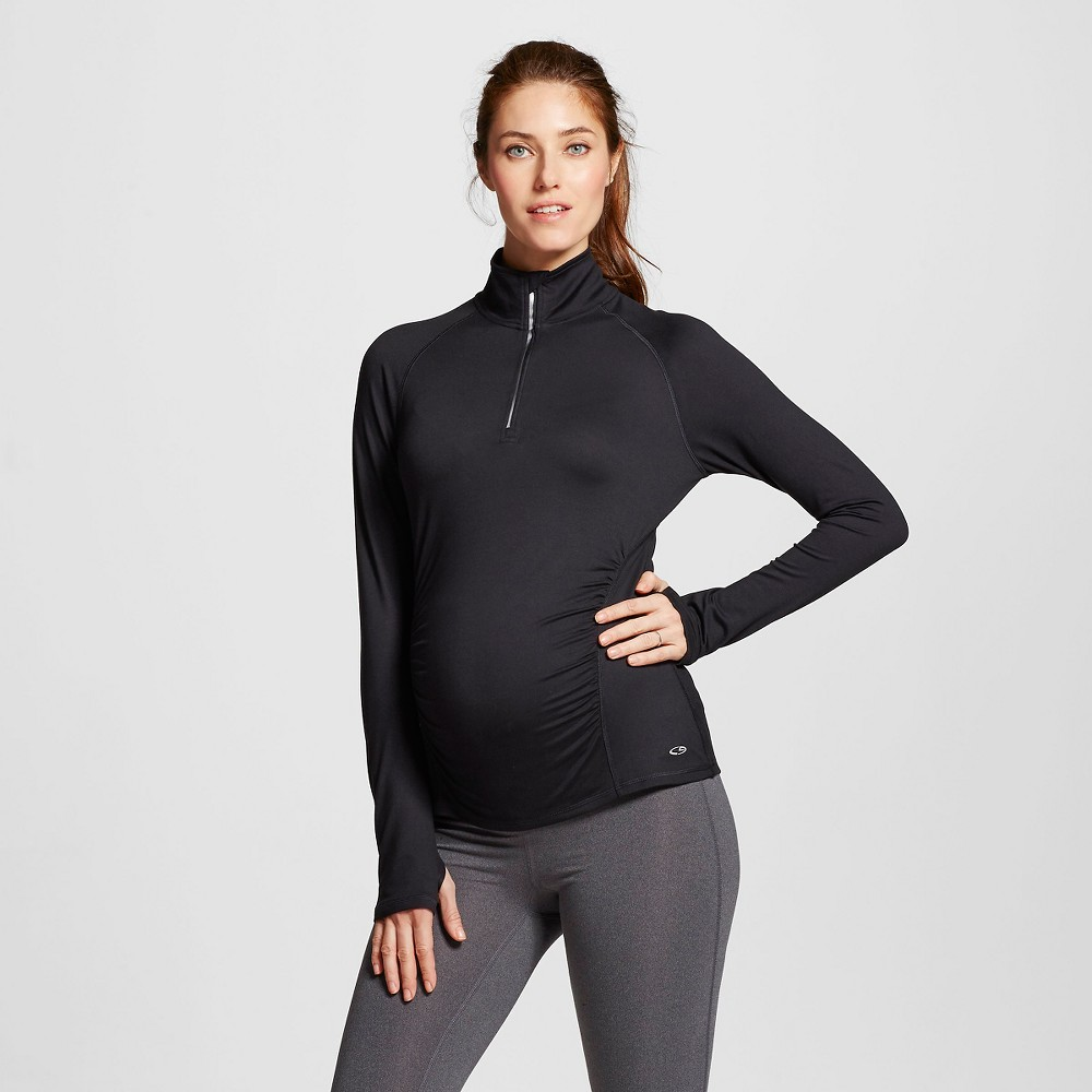 C9 Champion Women's Maternity Run 1/4 Zip Pullover - Black M, Size: Medium