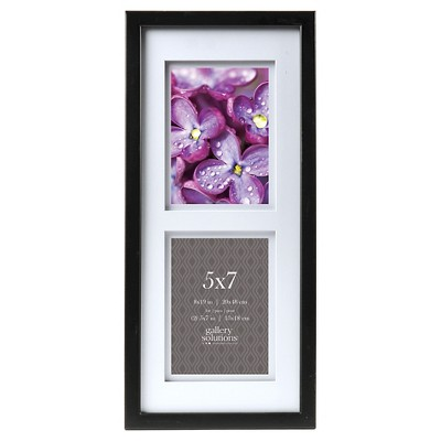 """Gallery Solutions 2 Openings 5""""x7"""" Frame - Black"""