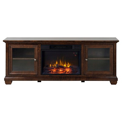 "Verona Media Stand Fireplace Walnut 67"" - Homestar"