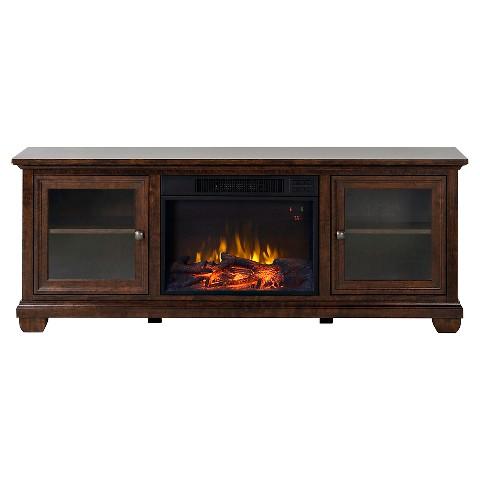 verona media stand fireplace walnut 67 homestar target