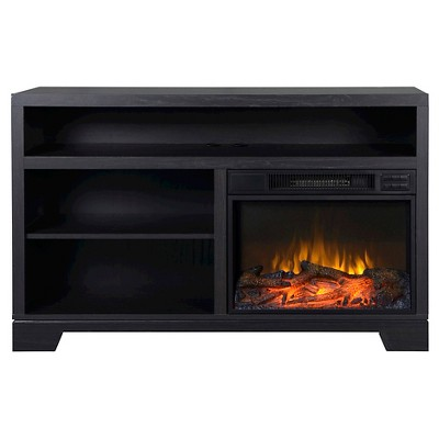 "Vancouver Media Stand Fireplace Black Oak 51"" - Homestar"