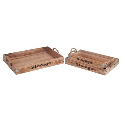 Privilege 3-Piece Wooden Trays - Wood/Black