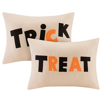 Halloween Trick or Treat Pillow Pair - Khaki