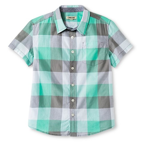 Boys 39 Button Down Shirt Mint Green Plaid Cher Target