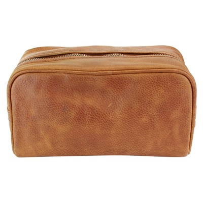 The British Belt Co. Men's Huxley Leather Dopp Kit Dark Brown