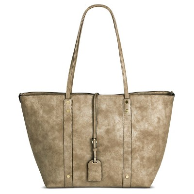 A+ Women's Faux Leather Tote with Removable Crossbody Bag - Taupe