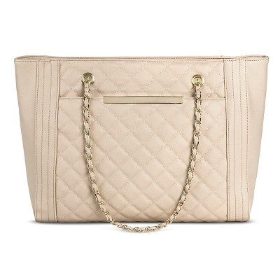 Women's Quilted Tote with Chain Strap Faux Leather Handbag Blush - Mossimo™