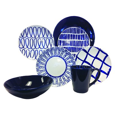Baum Bros. 16-pc. Cobalt & White Dinnerware Set