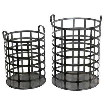Privilege 2-Piece Iron Bins - Black