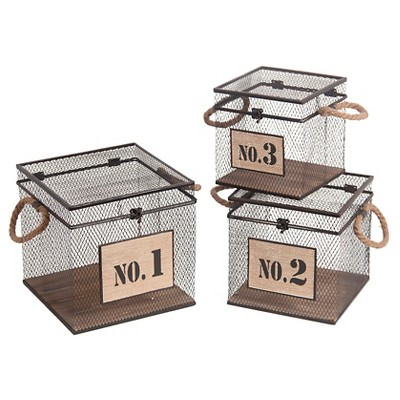 Privilege 3-Piece Square Iron Baskets - Brown
