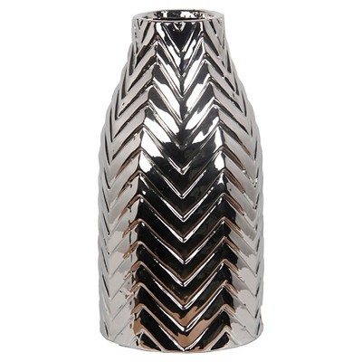 Privilege Medium Ceramic Chevron Vase - Silver