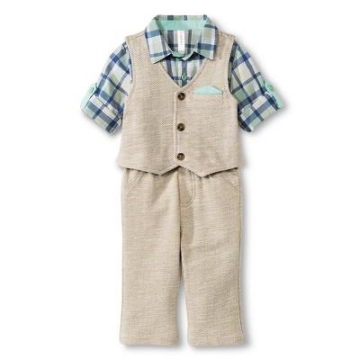 Baby Boys' 3 Piece Set Khaki/Blue Plaid 6-9M - Cherokee®