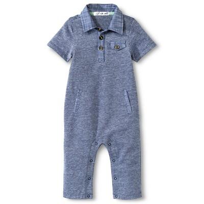 Baby Boys' Pique Romper Nighttime Blue 6-9M - Cherokee®