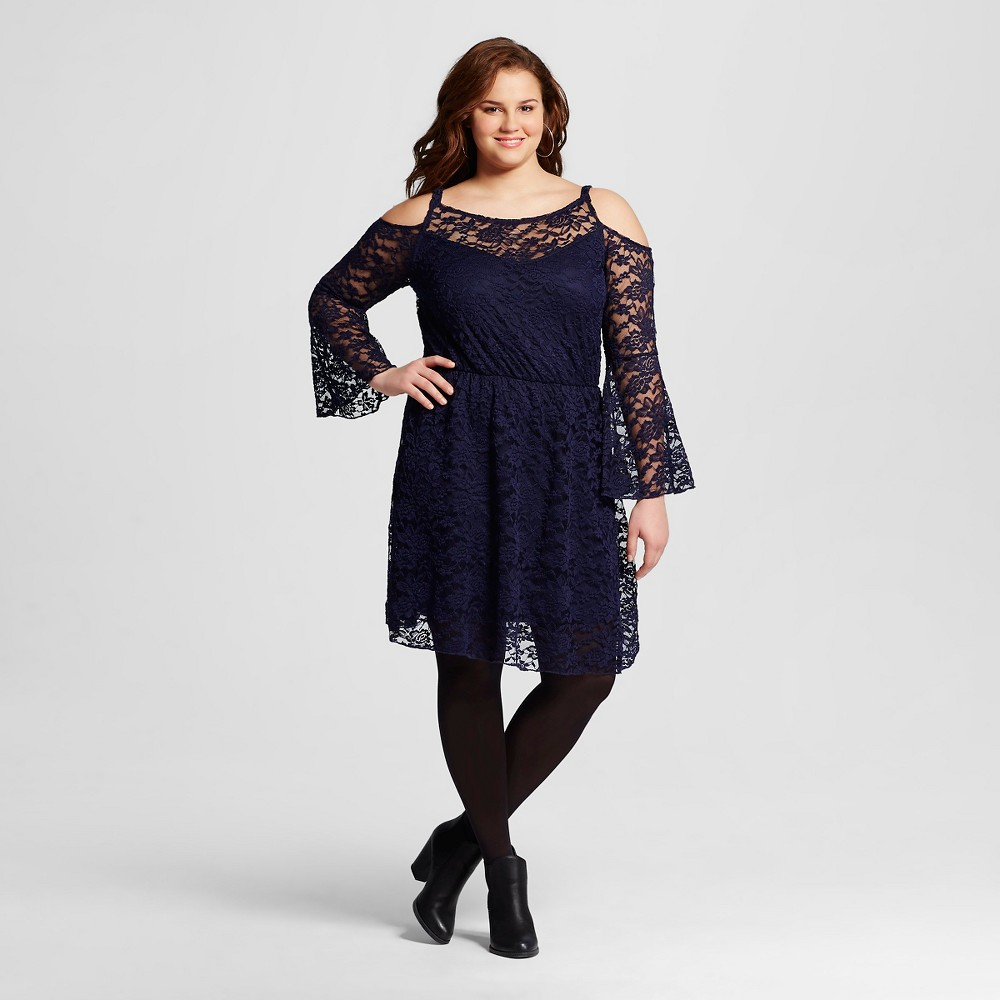 Plus Size Almost Famous Plus Bell Sleeve Peasant Dress Navy