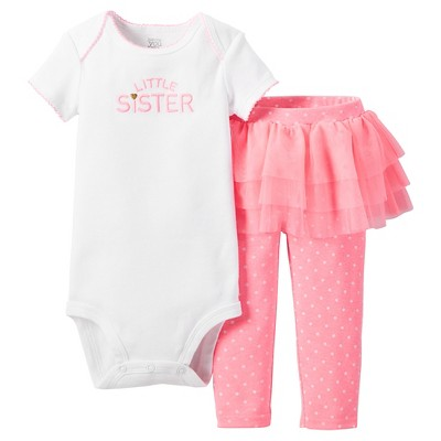 Just One You™Made by Carter's® Newborn Girls' 2 Piece Tutu Skirt Set – Pink & White 3M