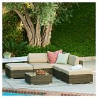The-Hom Barton 6-Piece Wicker Patio Sectional Sofa Set - Dark Brown with Beige Cushions
