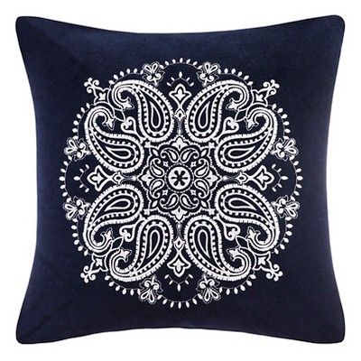 Cotton Velvet Medallion Embroidered Pillow - Navy