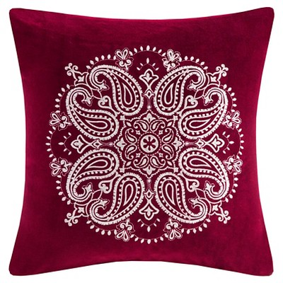 Cotton Velvet Medallion Embroidered Pillow - Red