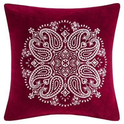 Cotton Velvet Medallion Embroidered Pillow - Red