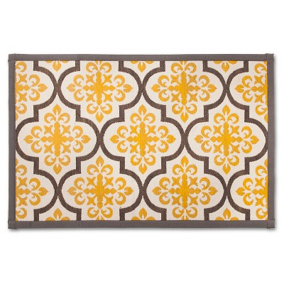 Threshold™ Patterned Comfort Kitchen Mat - Yellow/Gray