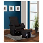 Swivel Glider Recliner Chair and ottoman Black Bonded Leather - Shermag