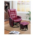Swivel Glider Recliner Chair and ottoman Red Bonded Leather - Shermag
