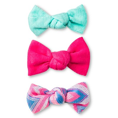 Girls' 3-Pack Bow Salons Clips/Barrette Multicolored OSFM - Cherokee®