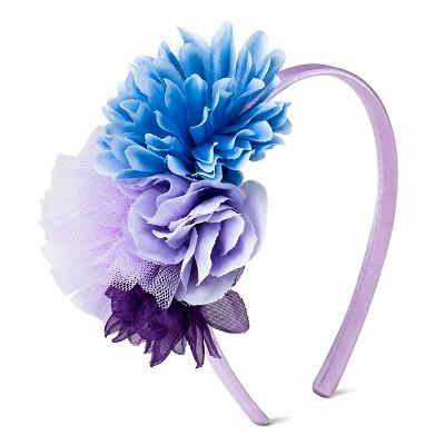 Girls' Faux Flower & Tulle Poof Headband Purple One Size - Cherokee