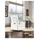 Motion Swivel Recliner Chair White Bonded Leather - Shermag