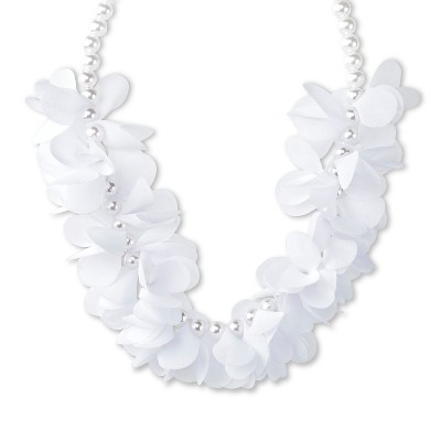 Toddler Girls' Pearl With Chiffon Fashion Necklace White - Cherokee™