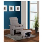 Swivel Glider Recliner Chair and ottoman Taupe bonded Leather - Shermag