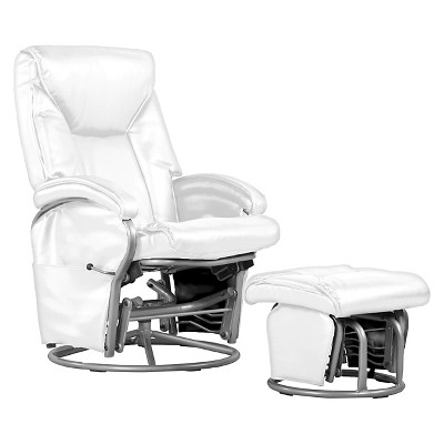Swivel Glider Recliner Chair and ottoman White Bonded Leather - Shermag