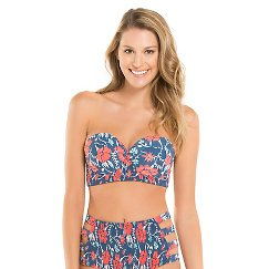 Women's Floral Midi Bandeau Bikini Top Blue - Tori Praver Seafoam