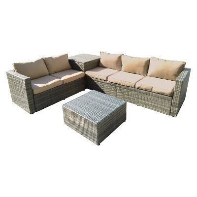 The-HOM Gran Melia 4-Piece All-Weather Wicker Patio Seating Set Antique Grey with  Beige Cushions
