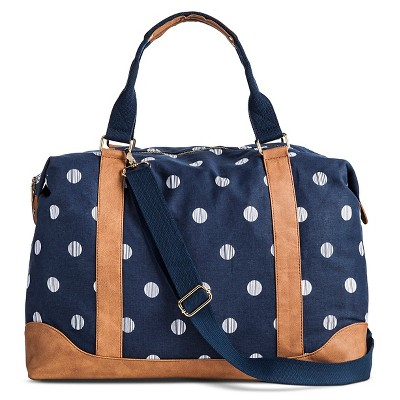 Women's Polka Dot Print Canvas Weekender Handbag with Removeable Crossbody Strap - Merona™