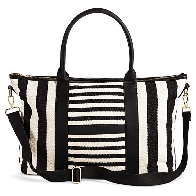 Women's Canvas Tote with Removable Crossbody strap - Black/White Striped - Merona™