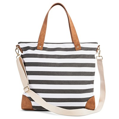 Women's Stripe Print Canvas Tote Handbag with Removeable Crossbody Strap - Merona™
