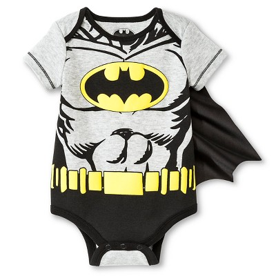 Batman Baby Boys' Muscle Caped Bodysuit - Black 0-3 M