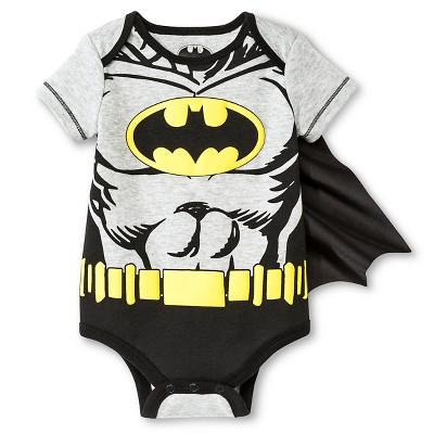 Batman Baby Boys' Muscle Caped Bodysuit - Black 3-6 M